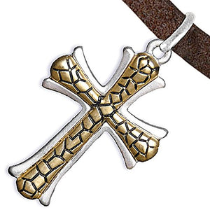 Two-Tone Matte Gold Ikarian Pattern & Silver Cross Adjustable Necklace Safe - Nickel & Lead Free