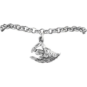 Male Swimmer Charm Bracelet ©2009 Hypoallergenic, Adjustable Safe - Nickel, Lead & Cadmium Free!