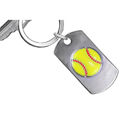 Never Give Up, Never Stop Trying, Never Quit Softball Key Chain ©2009 Safe - Nickel & Lead Free!