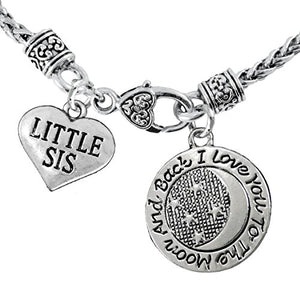 "Little Sis ""I Love You to The Moon & Back"" Necklace, Safe - Nickel, Lead, &Free"