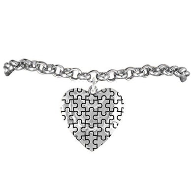 Autism Puzzle Piece Heart, Hypoallergenic Adjustable Bracelet. Nickel, Cadmium, and Lead Free