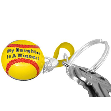 My Daughter Is a Winner Softball Key Chain ©2009 Hypoallergenic, Safe - Nickel, Lead & Cadmium Free!