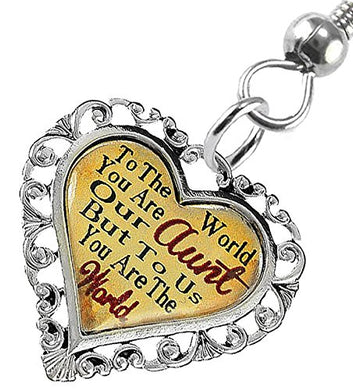 Aunt Heart Charm Fishhook Earrings ©2016 Hypoallergenic, Safe - Nickel, Lead & Cadmium Free!