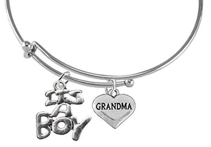 "Grandma, ""It's A Boy"" Adjustable Bracelet, Will NOT Irritate Sensitive Skin, Nickel Free."