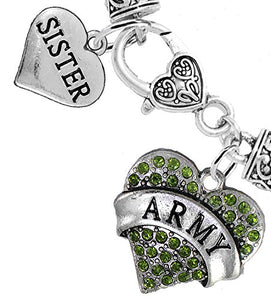 "Army ""Sister"" Heart Bracelet, Will NOT Irritate Anyone with Sensitive Skin Safe - Nickel & Lead Free"