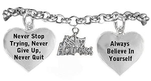"Theater Drama Bracelet, ""#1 Actress"", ""Never Give Up"" Hypoallergenic Adjustable, Nickel & Lead Free"