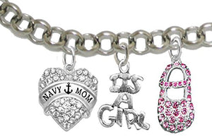 "Navy ""Mom"", ""It's A Girl"", Adjustable Bracelet, Hypoallergenic, Safe - Nickel & Lead Free"
