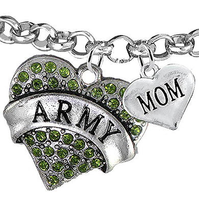 ArMy Mom Heart Bracelet, Will NOT Irritate Anyone with Sensitive Skin. Safe - Nickel & Lead Free