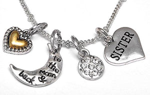 "Sister ""I Love You to The Moon & Back"", Adjustable Necklace Set, Safe, Nickel Free."