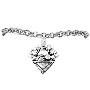"The Perfect Gift ""Softball Home Run Plate, Ball & Cap Charm"" Bracelet ©2009 Safe - Nickel Free"