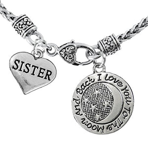 "Sister & ""I Love You to The Moon & Back"" Necklace Safe - Nickel, Lead & Free"