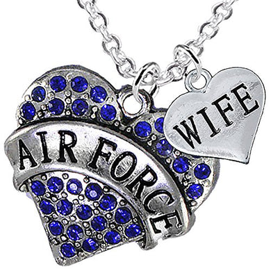 Air Force Wife Heart Necklace, Adjustable, Will NOT Irritate Anyone with Sensitive Skin. Nickel Free