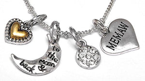"Memaw ""I Love You to The Moon & Back"", Adjustable Necklace Set, Will NOT Irritate Skin, Safe"