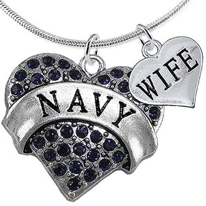 Navy Wife Blue Crystal Heart Necklace, Adjustable, Will NOT Irritate Anyone with Sensitive Skin.