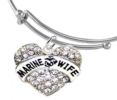 The Perfect Gift Marine Wife Hypoallergenic Adjustable Bracelet, Safe - Nickel, Lead & Cadmium Free