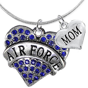 "Air Force ""Mom"" Heart Necklace, Adjustable, Will NOT Irritate Anyone with Sensitive Skin. Safe"
