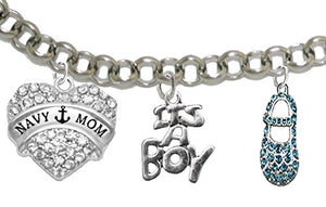 "Navy ""Mom"", ""It's A Boy"", Adjustable Bracelet, Hypoallergenic, Safe - Nickel & Lead Free"