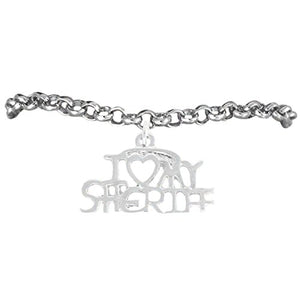 "Sheriff ""I Love My Sheriff"" Hypoallergenic Adjustable Bracelet Nickel & Lead Free"