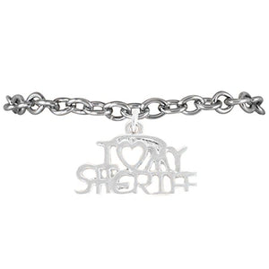 "Sheriff ""I Love My Sheriff"" Hypoallergenic Bracelet Nickel & Lead Free"
