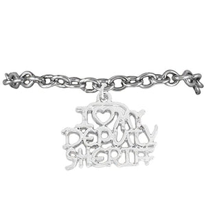 "Deputy Sheriff ""I Love My Deputy Sheriff"" Hypoallergenic Adjustable Bracelet Nickel & Lead Free"