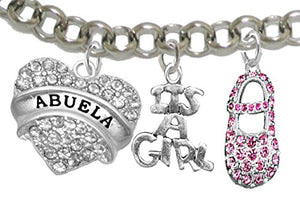 "Abuela, ""It's A Girl"", Adjustable Bracelet, Hypoallergenic, Safe - Nickel & Lead Free"