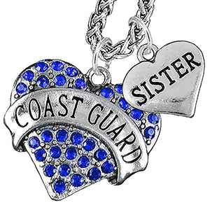 "Coast Guard ""Sister"" Heart Necklace, Will NOT Irritate Anyone with Sensitive Skin Safe - Nickel Free"