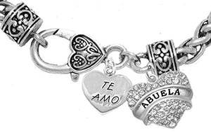 Te Amo Abuela Lobster Heart Bracelet, Hypoallergenic, Safe - Nickel & Lead Free