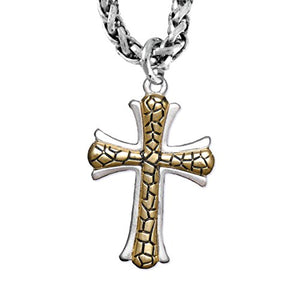 Two-Tone Matte Gold Ikarian Pattern & Silver Cross Necklace Safe - Nickel & Lead Free