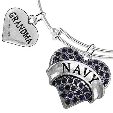 Navy Grandma Blue Crystal Heart Bracelet, Adjustable, Will NOT Irritate Anyone with Sensitive Skin.
