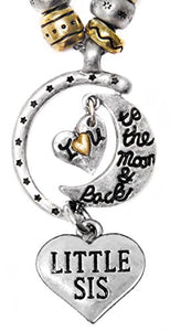 "Little Sis ""I Love You to The Moon & Back"", Adjustable Necklace Set, WON'T Irritate Sensitive Skin"