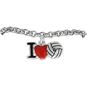 "Volleyball ""I Love Volleyball"" Adjustable Bracelet, Safe - Nickel & Lead Free!"