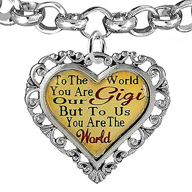 Gigi Heart Charm Bracelet ©2016 Hypoallergenic, Adjustable, Safe, Nickel, Lead & Cadmium Free!