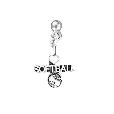 I Love Heart Softball Post Earrings ©2009 Hypoallergenic, Safe - Nickel, Lead & Cadmium Free!