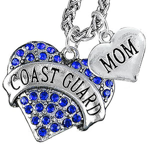 "Coast Guard ""Mom"" Heart Necklace, Will NOT Irritate Anyone with Sensitive Skin. Safe - Nickel Free"
