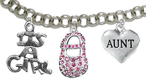 "Aunt, ""It's A Girl"", Adjustable Bracelet, Hypoallergenic, Safe - Nickel & Lead Free"