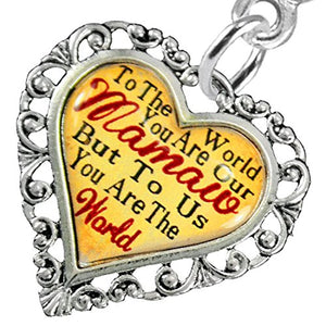 "Mamaw Heart Charm Post Earring"" ©2016 Hypoallergenic, Safe - Nickel, Lead & Cadmium Free!"