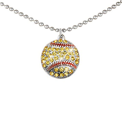 Crystal Softball Hypoallergenic Adjustable Necklace Safe - Nickel & Lead Free