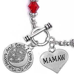 "Mamaw, ""I Love You to The Moon & Back"", Red Crystal Charm Bracelet, Safe, Nickel Free."