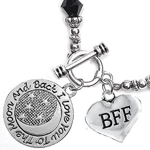 BFF I Love You to The Moon & Back Jet Crystal Charm Bracelet, Safe, Nickel Free.
