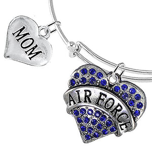 "Air Force ""Mom"" Heart Bracelet, Adjustable, Will NOT Irritate Anyone with Sensitive Skin. Safe"