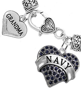Navy Grandma Blue Crystal Heart Bracelet, Will NOT Irritate Anyone with Sensitive Skin.