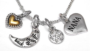 "Nana ""I Love You to The Moon & Back"", Adjustable Necklace Set, Will NOT Irritate Skin, Safe"