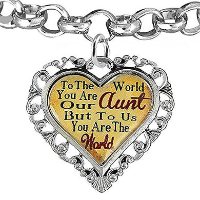 Aunt Heart Charm Bracelet ©2016 Hypoallergenic, Adjustable, Safe, Nickel, Lead & Cadmium Free!