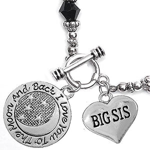 Big Sis, I Love You to The Moon & Back Jet Crystal Charm Bracelet, Safe, Nickel Free.