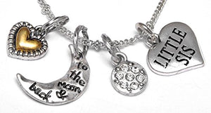 "Little Sis ""I Love You to The Moon & Back"", Adjustable Necklace Set, Will NOT Irritate Skin"