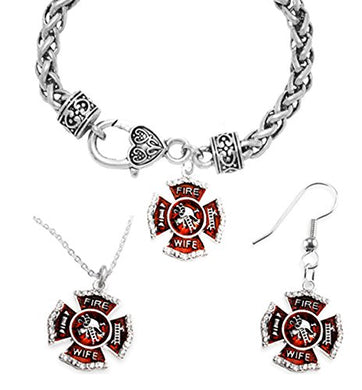 Firefighter's Wife's Necklace, Earring, Bracelet Set, Hypoallergenic Safe - Nickel & Lead Free