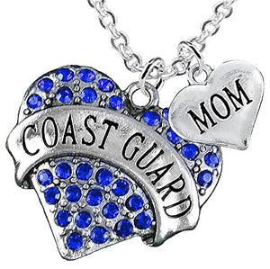 "Coast Guard ""Mom"" Heart Necklace, Adjustable, Will NOT Irritate Anyone with Sensitive Skin. Safe"