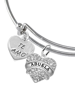 Te Amo Abuela Adjustable Bracelet, Hypoallergenic, Safe - Nickel & Lead Free