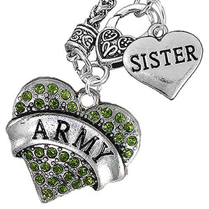 "Army ""Sister"" Heart Necklace, Will NOT Irritate Anyone with Sensitive Skin Safe - Nickel & Lead Free"
