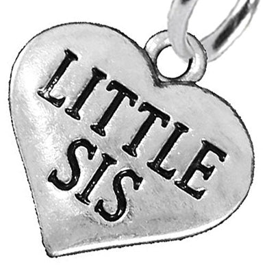 Little Sis Heart Charm Post Earrings ©2016 Hypoallergenic, Safe - Nickel, Lead & Cadmium Free!